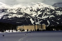 Fairmont Chateau Lake Louise 1 (pmvarsa) Tags: winter 2002 analog film 135 cans2s kodak royal gold 200iso kodakroyalgold200 royal2002 nikonsupercoolscan9000ed nikon coolscan cold snow ice frozen rocky moutains mountain range nature hotel national park trees forest downhill ski skiing cross country crosscountry xcountry sport activity outdoor exercise canon ftb canonftb classic camera banff lakelouise alberta canada ab