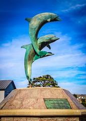 Cayucos Dolphins Statue (CDay DaytimeStudios w /1 Million views) Tags: beach bluesky ca california cayucos coastline highway1 ocean pacificcoast pacificcoasthighway pacificocean sculpture statue water