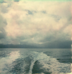 departing (lawatt) Tags: wake water pacific ocean channel islands santacruzisland film instant polaroid sx70