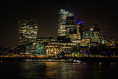 London City Night Colours (Dannis van der Heiden) Tags: london night city cityscape thames river water boat building eng uk nikond750 d750 tamron2470mmf28 lights