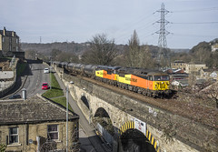 Speeding past Brighouse. (thrimby2002) Tags: brighouse 56078 56049