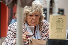 Glimpse of beauty (Marion McM) Tags: portrait streetphotography streetportraiture candid woman older beautiful aged cafe glimpse mainstreet gibraltar canoneosm6