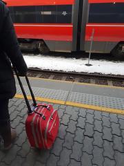 Red railway ride (prestoy) Tags: transportation railway bag luggage