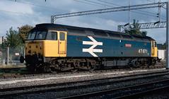 47 971 'Robin Hood' at Nuneaton. 1991. (Marra Man) Tags: robinhood class47 class479 nuneatonstation nuneaton 47971