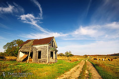 Abandoned on M-117 (tfavretto) Tags: abandoned autumn blue circularpolarizer cirrus clouds mackinaccounty cows dilapidated dirt dusty engadine evening fence grass graze grazing house michigan newberry path upperpeninsula road rural sky stairs summer wispy m117
