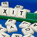 Close up shot of Exit word formed from scrabble