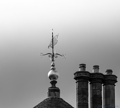 weathervane (Rourkeor) Tags: ayrshire culzeancastle mzuikodigitaled12‑100mm140ispro m43 maybole omdem1markii olympus scotland uk blackwhite chimneys mft microfourthirds weathervane