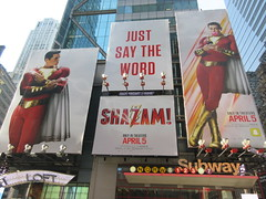 Shazam The Big Red Cheese Billboard 42nd St NYC 3817 (Brechtbug) Tags: shazam billboard 42nd street new captain marvel the big red cheese poster ad nyc 2019 times square movie billboards york city work working worker paint painting advertisement dc comic comics hero superhero alien dark knight bat adventure national periodicals publication book character near broadway shield s insignia blue forty second st fortysecond 03142019 lightning flight flying march