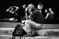 Stanchezza dell'intelligenza (Eugenio GV Costa) Tags: street man uomo bianconero blackwhite persone blackandwhite outside