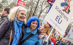 Scientists For EU II - Explored (DobingDesign) Tags: streetphotography protesters marchers putittothepeoplemarch london candid blue bluehair text signage placard