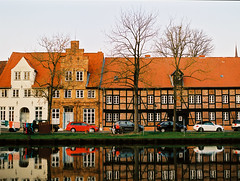 Untitled (kishjar?) Tags: lubeck germany embankment schleswigholstein trave river halftimbered houses reflections film 645 europe