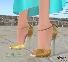 Piper Moda 'Claudia Gold' peep toe shoes (karenpiper_uk) Tags: gold shoes peeptoe maitreya slink mesh fashion highheels secondlife pipermoda sandals