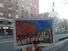 Everyone has special places that are intensely meaningul: (aniuswalker) Tags: madrid church arquitecture urbansketch urbansketcher watercolor watercolorsketch tetuan alvarado sketchmadrid urbansketchmadrid