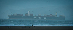 MSC (AAcerbo) Tags: oceanbeach sanfrancisco california pacificocean storm roughseas waves surf shipping freight boat ship widescreen beach