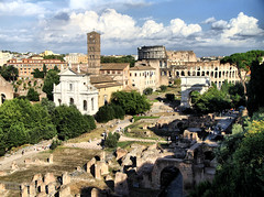 Forum in Rome, Italy (` Toshio ') Tags: toshio rome italy roman europe colosseum forum ancient ruins clouds italian european architecture arch canon7d 7d canon church