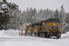 Elephants in the snow (Patrick Dirden) Tags: up7656 c45accte gevo ge generalelectric diesel locomotive engine rail railroad train freighttrain intermodaltrain up unionpacific unionpacificrailroad uprosevillesub sodaspringsca placercounty sierranevada snow winter storm mountains northerncalifornia california