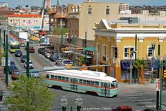 EL PASO--1506 at Oregon/Franklin IB (milantram) Tags: electricrailtransport railsystemselpaso elpaso elpasostreetcar sunmetro pccs streetcars trolleys trams