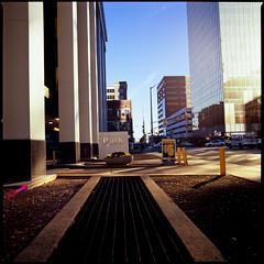 Indianapolis, Indiana (Roger Gerbig) Tags: indiana indianapolis downtown rogergerbig hasselblad500cm 50mmf4cfzeissdistagonfle 120film mediumformat fujichromevelvia100 rvp100 skyscraper