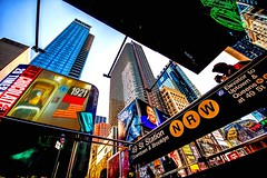 NY 49th street subway (teedee.) Tags: ny 49th street subway new york 2019 times sq usa steps view lights adverts buildings sky scraper