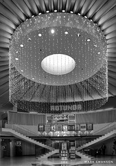 Rotunda, Terminal 3 Chicago O'Hare (mswan777) Tags: airport terminal rotunda interior indoor concourse chicago illinois o'hare ord travel architecture ceiling light building monochrome ansel black white apple iphoneography iphone mobile stair