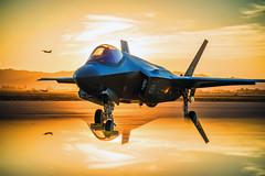 Australian Air Force in Arizona, variant (sjrankin) Tags: f35 f35a fighterjet fighterpilot airpower reflection sunset australian australia arizona lukeairforcebase unitedstates us 5february2019 edited usaf airforce unitedstatesairforce plane fighter jet 180627fsx095096