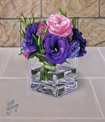 Bouquet of Lisianthus in a glass (irishishka) Tags: flowers glass water art artirishishka drawings pastels pastelpainting realism gyperrealism figurative lisianthus bouquet