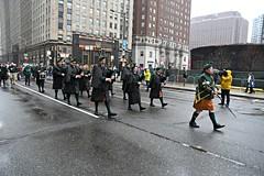 Philadelphia Emerald Society Pipe Band marches down JFK Boulevard