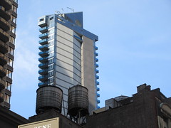Too Tall Skinny Building With Balconies 3850 (Brechtbug) Tags: too tall skinny building with light clouds above 8th avenue nyc 03142019 new york city pencil tower architecture art buildings towers balcony 2019 near 48th street midtown manhattan penthouse roof top rooftop march