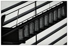 Treppe auf dem Glasdach   stairs on the glass roof (frodul) Tags: architektur detail brücke detailaufnahme diagonale fenster gebäude konstruktion linie stair stairway step treppe verglasung monochrom hannover himmel schatten glasdach eisentreppe geländer niedersachsen deutschland stufe stairs glassroof