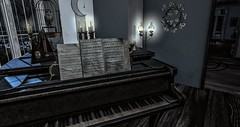 Let the music play (☢.:мelιnoe:.☢) Tags: secondlife sl hextraordinary owl cage dogwood oil lamp piano window moonlight nutmeg chalices candlesticks
