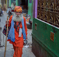A Hindu Sadhu, a mendicant or any holy person in Hinduism and Jainism who has renounced the worldly life}, Varanasi India. (JJ Doro - Bangkok) Tags: ganges india uttarpradesh varanasi
