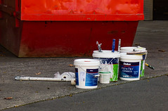 Tools of the Paint Trade (Steve Taylor (Photography)) Tags: paint can dulux acrate elastomeric roller tub skip decorator painting construction blue green red white tarmac newzealand nz southisland canterbury christchurch cbd city