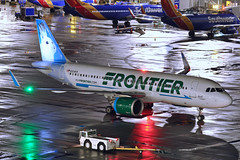Jack (Rich Snyder--Jetarazzi Photography) Tags: frontierairlines frontierflight fft f9 airbus a320neo a320200n a320251n a32n n304fr jacktherabbit departure departing sanfranciscointernationalairport sfo ksfo millbrae california ca airplane airliner aircraft jet plane jetliner ramptowera rcta atower dark night lights wet rainy