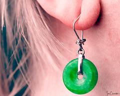 Circular Jade Earring (iecharleton) Tags: art macromondays jewelry earring jade suspension dangle diamond circular round ear asian vietnam macro closeup vietnamese 8x10crop