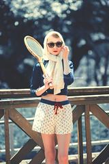 Tennis Girl (Yuri Figuenick) Tags: tennis woman girl sport racket fashion canon eos 5d mark3 art blue retro vintage 1960s scarf sunglasses 135mm