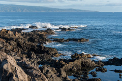 Frozen in Time (Austin Westervelt) Tags: hawaii maui landscape seascape ocean sea water waves blue rocks rocky coast coastline shore island beautiful sunlight sunrise light