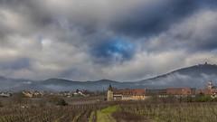 Sur fond de Haut-Koenigsbourg (Fred&rique) Tags: lumixfz1000 photoshop raw hdr hiver alsace vignes vignoble village architecture château ciel brume nuages paysage france
