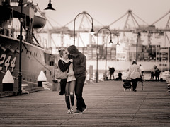 Evening Stroll (djwillia3333) Tags: williamstownharbour fuji xt2 xf 50140mm f28 wharf lovers pier monochrome bw