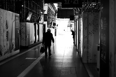 In the station hall (pascalcolin1) Tags: paris13 homme man gare station austerlitz garedausterlitz lumière ombre light shadows photoderue streetview urbanarte noiretblanc blackandwhite photopascalcolin 50mm canon50mm canon