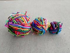 Three magic balls of scrap yarn (crochetbug13) Tags: crochet crocheted crocheting scrapyarn magicball