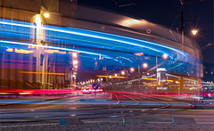 Life in the fast lane (BenedekM) Tags: lights lanes tram night nightshot view panorama cityscape lamps budapest city fast longexposure nikon nikond3200 d3200 nikkor50mmf18g 50mmf18 roads nightphotography