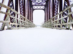 Look beyond the bridge🌉 (ewalker0298) Tags: daily life dream escape peaceful create creative beauty iphoneography photography fallingsnow nature southdakota winter snow bridge