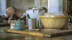 in the kitchen cafe (Redheadwondering) Tags: sonyα7ii mottisfont hampshire nationaltrust 119picturesin2019 sonyf1450mmlens crockery kitchen 79oldfashioned 79 utensils cafe table