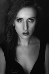 Laura in B&W ({jessica drossin}) Tags: jessicadrossin face woman portrait eyes nose hair close up wwwjessicadrossincom