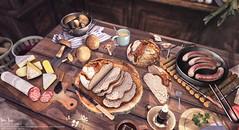Sari-Sari - Rustic Dinner (AbbyAnne / Sari-Sari) Tags: sarisari sl secondlife original mesh food decor lotr hobbit shire bagend rustic dinner feast enchantment tolkien middleearth bread mushroom harvest cheeseplatter salami wurst sausage cheese skillet