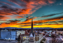 Fabulous February Steeple Sunset (Terry Aldhizer) Tags: fabulous february steeple sunset roanoke virginia blue ridge mountains greene memorial church city buildings sky twilight terry aldhizer wwwterryaldhizercom