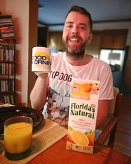 Good Morning South Florida! (Toni Kaarttinen) Tags: usa unitedstates florida wpb america lakeworth lw palmbeachcounty man guy beard bear selfie hairy scruff breakfast juice oj