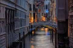 A Canonica Canal (henriksundholm.com) Tags: city urban water canal bridge canonica walls buildings medieval lighttrail night construction facade reflections poles hdr landscape venice veneto italy