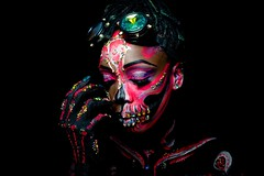 :) (Wickedshutters) Tags: death mask goggles woman black bright colors flourescent light glovbe glove nails kinky background sony ilce7m2 paint running sparkles makeup ear portrait dripping goul horror zombie dead