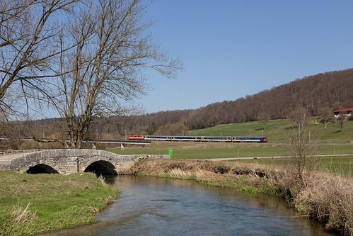 CFF Re 420 108 à Courtemaîche sur le pont pour Bure-Casernes